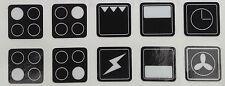Da Forno Fornello Gamma Piano Cottura Adesivi simboli ETICHETTE sostitutive Manopola Decalcomanie