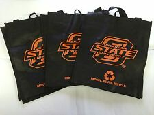 3 Oklahoma State Cowboys Reusable Green Shopping Grocery Bags NEW Gift NCAA