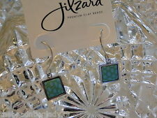 NEW JILZARA Premium Handmade Clay Beads EMERALD GREEN Square Hoop Earrings