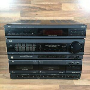 Vintage JVC DR-E51L Stereo Double Cassette Deck Black Receiver HiFi  Retro Unit