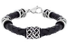 Designer Urban Rock 6mm Twist Single Black Leather Braided Bracelet RRP £44.99