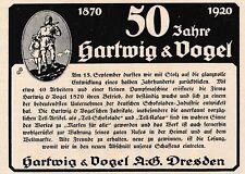 1920 Hartwig & Vogel 50 Jahre Dresden Schokolade 17x13 cm original Printwerbung
