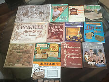 Vintage Leathercrafting Books,Patterns And Project Assortment (13) Pre- Owned.