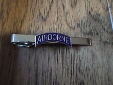 U.S MILITARY ARMY AIRBORNE TIE BAR TIE TAC  CLIP ON U.S.A MADE BLUE ROCKER