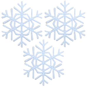 Snowflake Embroidered Gold Metallic Iron On Applique Patch Set Of 10-1 Winter Snow Crafts