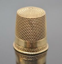 Simmons 10 Karat Yellow Gold Thimble Size 9 Signed 10K & Makers Mark