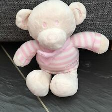 "NEXT CREAM TEDDY BEAR WEARING PINK STRIPE JUMPER SCARF BEANIE SOFT TOY PLUSH 10"""