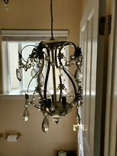 CRYSTAL CHANDELIER PENDANT SHABBY AND CHIC LIGHTING FIXTURES 3 LIGHT'S 16.5""