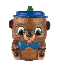 Vintage Ceramic Teddy Bear Cookie Jar Blue Lid with Frog Handle