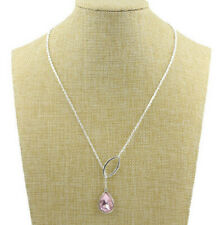 New style Silver Chain Crystal Water droplets Pendant Necklace Womens Jewelry