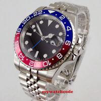 40mm PARNIS black sterile dial luminous GMT sapphire glass automatic mens watch