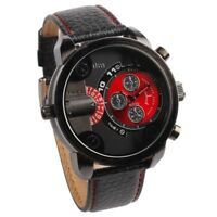 Oulm Herren Zwei Zifferblaetter Armbanduhr rot P7X8