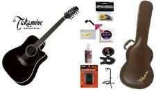 new Takamine EF381SC 12-string acoustic electric dreadnought guitar black with h