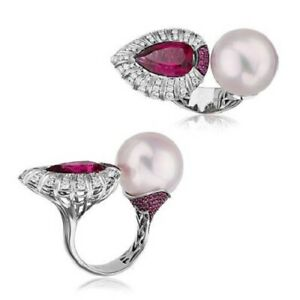 Cultured Pearl & Sim Ruby Pear-shaped Cocktail Ring Solid 925 Sterling Silver