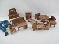 Vintage Handcrafted Wooden Doll Furniture 3 sets, 18 pieces