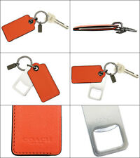 Coach Metal Bottle Opener KeyRing Chain Fob 64140 Orange Leather SALE