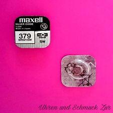 1x Maxell 379 Uhren Batterie Knopfzelle SR521SW AG0 Silberoxid Blisterware Neu