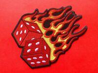 Flaming Dice iron on Patch fire casino gambling cast throw of the biker rocker