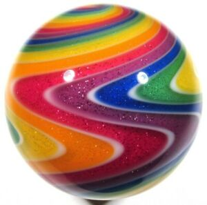 """Hot House Glass reverse twist Dichroic banded swirl marble 1.69"""" 43mm #633"""