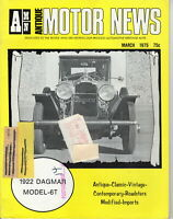 1922 DAGMAR MODEL-6T - AMN Antique MOTOR NEWS Magazine, March 1975 Issue