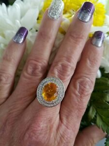 Oval Golden Yellow Citrine Halo Ring, Sterling silver, Size 7