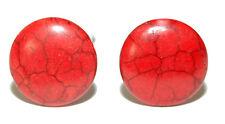 BRIGHT RED HOWLITE STONE CUFF LINKS (046a)