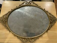Antique Stamped Brass Oval Picture Frame w/ Cast Metal Floral Design Accents