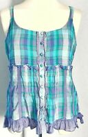 Per Una M&S Women's Top Vest Green Purple Size 12 100% Cotton Check Plaid Ruffle