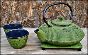Japanese Style GREEN DRAGONFLY Cast Iron TEAPOT w/ INFUSER 2 CUPS 1 TRIVET