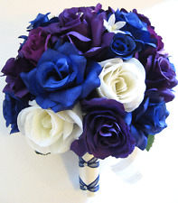 17 piece Wedding Bouquet Silk Flower Bridal ROYAL Blue PURPLE PLUM CREAM Package