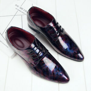 Men Floral Patent Leather Pointed toe Lace up Casual Oxfords Dress Wedding Shoes