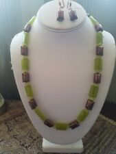 Handmade Genuine Jade and Copper Necklace and Earring Gift Set 24 inch