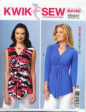 KWIK SEW SEWING PATTERN 4160 MISSES 8-22 SEMI-FITTED, V-NECK PULLOVER TOPS