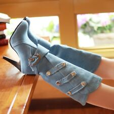 Women Gladiator High Heels Pointed Toe Denim Mid Calf Boots Roman Buckle Shoes
