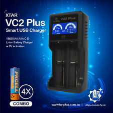 XTAR VC2 plus Smart LCD 18650 Battery Charger + 4 PKcell 1.2v 2600mah AA NI-MH
