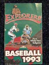 Sioux City Explorers 1993 Pocket Schedule Inaugural Season X's - Northern League