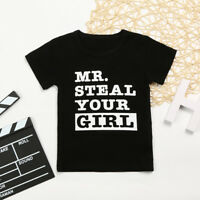 Summer Kids Baby Boys Letter Printed Blouse Tops T Shirt Toddler Clothes Outfits