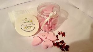 Jar of mini heart shaped bath bombs - best seller favourites - UK made