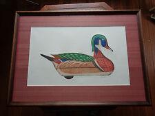 Arthur Nevin Wood Duck Drake Decoy Print, Signed 43/150 McKinnon, Tenn. 1960
