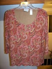 NICE BLOUSE BY VILLAGER – 1X – MULTI-COLOR –3/4 SLEEVES– GOOD USED CONDITION