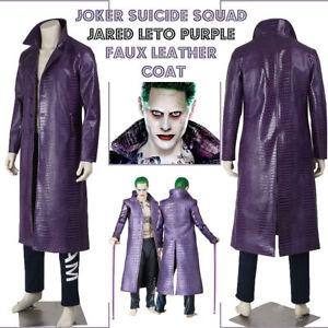 Suicide Squad Joker Jared Leto Purple Crocodile Texture Coat - Halloween Special