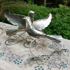 VTG Ornate Metal Peace Doves Scrolled Etched Victorian Spiritual 3-D Bird Art