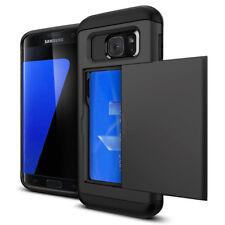 Black Credit Card Holder Shockproof Hard Wallet Case Cover For Samsung Galaxy S7