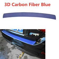 1x Car Rear Bumper Guard Protector Trim Cover Sill Plate Trunk Carbon Fiber Blue