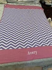 "pottery barn Teen Purple Pink Embroidered ""Avery"" 45x60"" Throw"