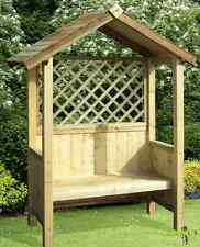 Wooden Garden Arbour Treated Natural Wood Shade Summer Seat Bench Patio Benches