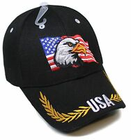 Adult USA Patriotic Flag Eagle Adjustable Black Acrylic Baseball Hat Cap