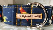 "1.5"" Caribbean Handmade Martingale Dog Collar Greyhound, Whippet, Lurcher"