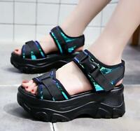 Womens Open toe Gladiator Sandals Sport Summer Sneakers High Platform Punk Shoes