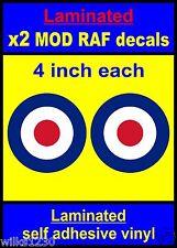 Laminato 2x 4 in (ca. 10.16 cm) ADESIVI RAF COCCARDA che la destinazione Mod Scooter Decalcomanie Vespa